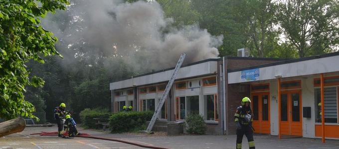 Brand op het dak van de IJwegschool